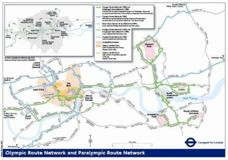 Roads affected by the Olympic and Paralympic games.