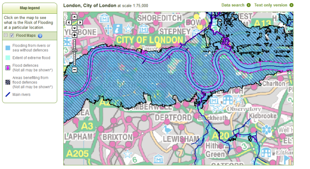 Flood map - city of London